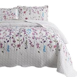 Bedsure Printed Quilt Coverlet Set King Lilac Floral Pattern