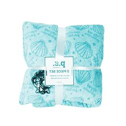 PS Aeropostale Girl Mermaid Soft and Sequin Blanket and Pill