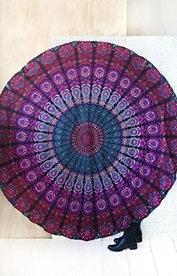 Purple Beach Towel Round Beach picnic yoga mat Mandala Tapes