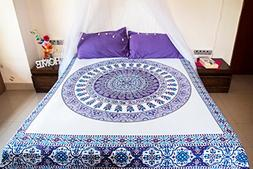 Purple Paisley Mandala Tapestry Bedding with Pillow Covers,