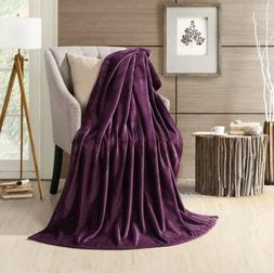 "Purple HYSEAS Velvet Fleece Lightweight Throw Blanket, 50"""