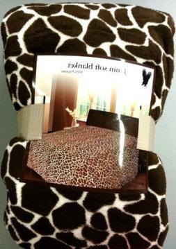 Queen Giraffe Fleece Blanket Brown Super Soft Plush Animal P