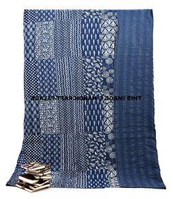 Queen Size Kantha Quilt Indigo Blue, Kantha Blanket, Bed Cov