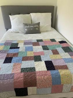 """Handmade Quilt Blanket Throw Lap 59""""x49"""" Patch Multicolored"""