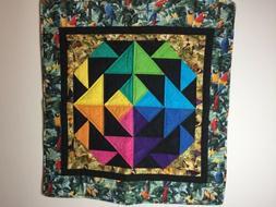 Handmade Quilt Parrots Color Wheel Bright Colors Crib Blanke