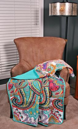 Quilt Throw Paisley Boho Chic Vibrant Cotton Lap Blanket Bed