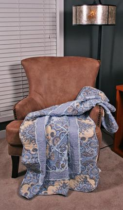 Quilt Throw Geneva Rag Ruffled Paisley Floral Gingham Lap Bl