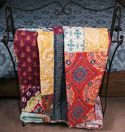 Quilt Throw Paisley Patchwork Global Chic Block Lap Blanket