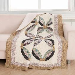 Quilt Throw Patchwork Wedding Ring Caroline Petite Floral La