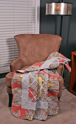 Quilt Throw Rebecca Rag Ruffled Paisley Gingham Lap Blanket