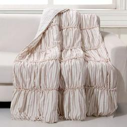Quilt Throw Red Ticking Stripe Farmhouse Chic Lap Blanket Be