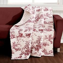 Quilt Throw Red Toile French Country Lap Blanket Bedding