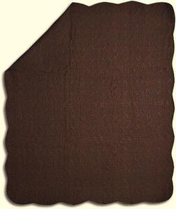 Quilt Throw Vintage Design Chocolate Brown Cotton Lap Blanke
