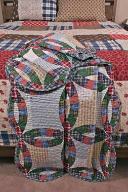 quilt throw wedding ring americana stripe plaid