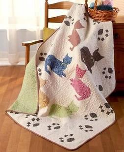 QUILTED CAT PAW PRINT REVERSIBLE THROW BLANKET 50 X 60 IN HA