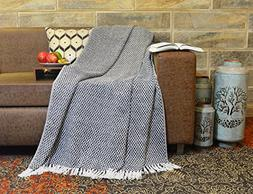 R home Luxury Jacquard Knitted Cotton Throw Blanket With Fri