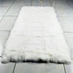 "Real Rabbit FUR Throw Blanket Patchwork Skin Fur Rug 42"" x 2"