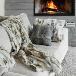Real Rabbit Fur Throw Patchwork Blanket Winter Soft Warm Lea