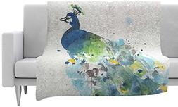 "KESS InHouse Rebecca Bender ""Abstract Watercolor Peacock"" Bl"