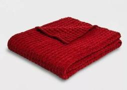 Threshold Red Chenille Throw Blanket  Nwot