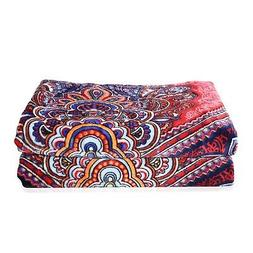 Red Floral Printed Pattern Microfiber Flannel Blanket Throw