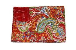 Red Paisley Print Kantha Work Quilt, Traditional Indian Cott
