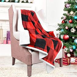 Catalonia Red Plaid Sherpa Throw Blanket,Reversible Super So