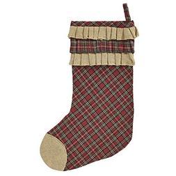 Red Plaid Tartan Christmas Holiday Burlap Ruffle Stocking 11