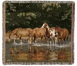 """Reflections Horse Herd Tapestry Afghan Throw Blanket 50"""" x 6"""