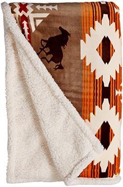 Carstens Soft Sherpa Plush Throw Blanket, Free Rein Collecit