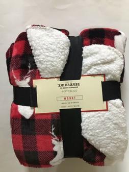 Berkshire Blanket Reindeer Throw Red White Sherpa 50x60