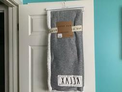 """Rae Dunn RELAX Sherpa Lined Throw Blanket 50"""" X 60"""". NWT"""