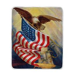 ALAZA Retro American Flag and Eagle USA Symbol Crystal Velve