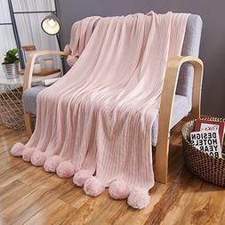 ZHIMIAN Reversible 100% Cotton Knit Throws Pompoms Fringe So