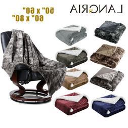 Reversible Flannel/Sherpa/Faux Fur Fleece Soft Cozy Warm Plu