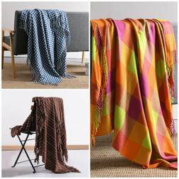 Reversible Tassel Throw Blanket Soft Warm for Bed Sofa Couch