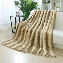 Reversible Thick Soft Striped Faux Fur Blanket w/ White Berb