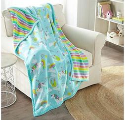 "American Kids Reversible Throw 50"" x 60"" - Unicorns"