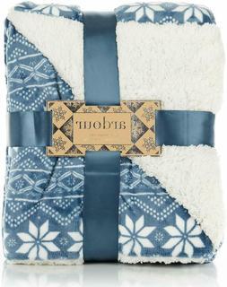 ReLive Reversible Velvet Berber Throw 50 x 60 - Blue Snowfla