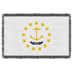 Rhode Island State Flag -- Woven Throw Blanket Tapestry