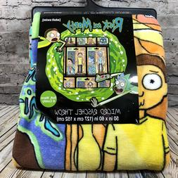 """Rick and Morty PLUSH THROW BLANKET 50""""x60"""" New with tags Adu"""
