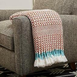 Rivet Modern Hand-Woven Stripe Fringe Throw Blanket, Soft an