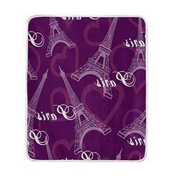 ALAZA Romantic Love Paris Eiffel Tower Purple Blanket Soft W