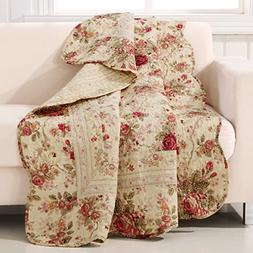 "Rose Floral Quilted Cotton Throw Blanket 50"" x 60"" Bed Sofa"