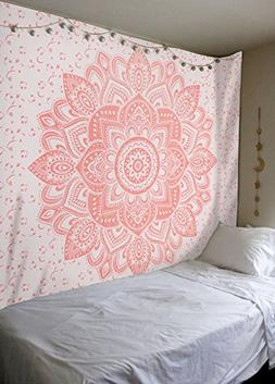 Rose Gold Ombre Tapestry by Labhanshi , Mandala Tapestry, Qu
