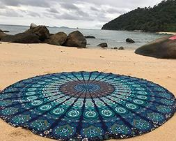 raajsee Round Beach Tapestry Hippie/Boho Mandala Beach Towel