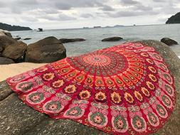 Raajsee Round Beach Throw Red Tapestry hippie/ Circle Mandal