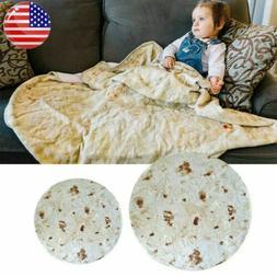 Round Food Burrito Blanket Tortilla Soft Flannel Picnic Thro