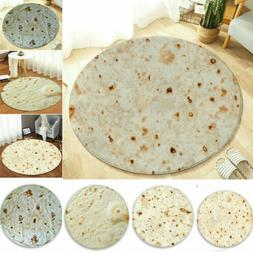 Round Taco Burrito Tortilla Shaped Blanket Soft Flannel Wrap