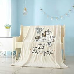 American Kids Royal Plush Sherpa Figural Unicorn Blanket Thr